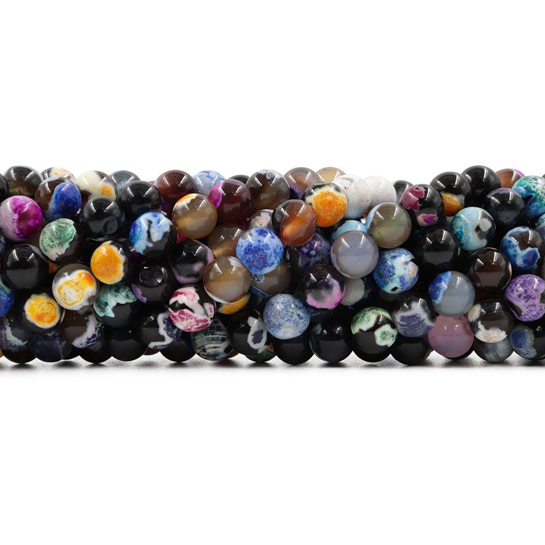 Ágata Collor Mix Preta Fio com Esferas de 8mm - F591  - ArtStones