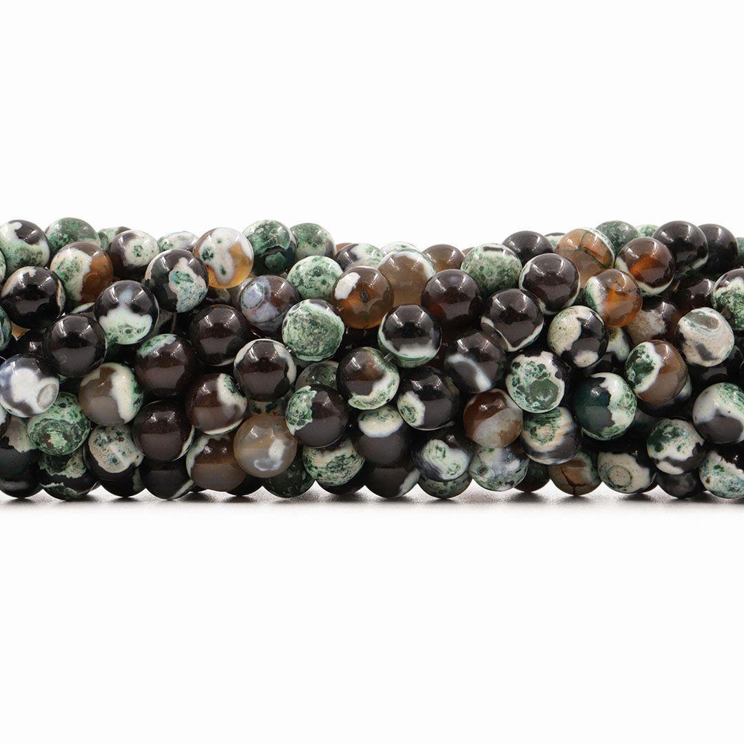 Ágata Collor Mix Verde/Cinza Fio com Esferas de 8mm - F093  - ArtStones