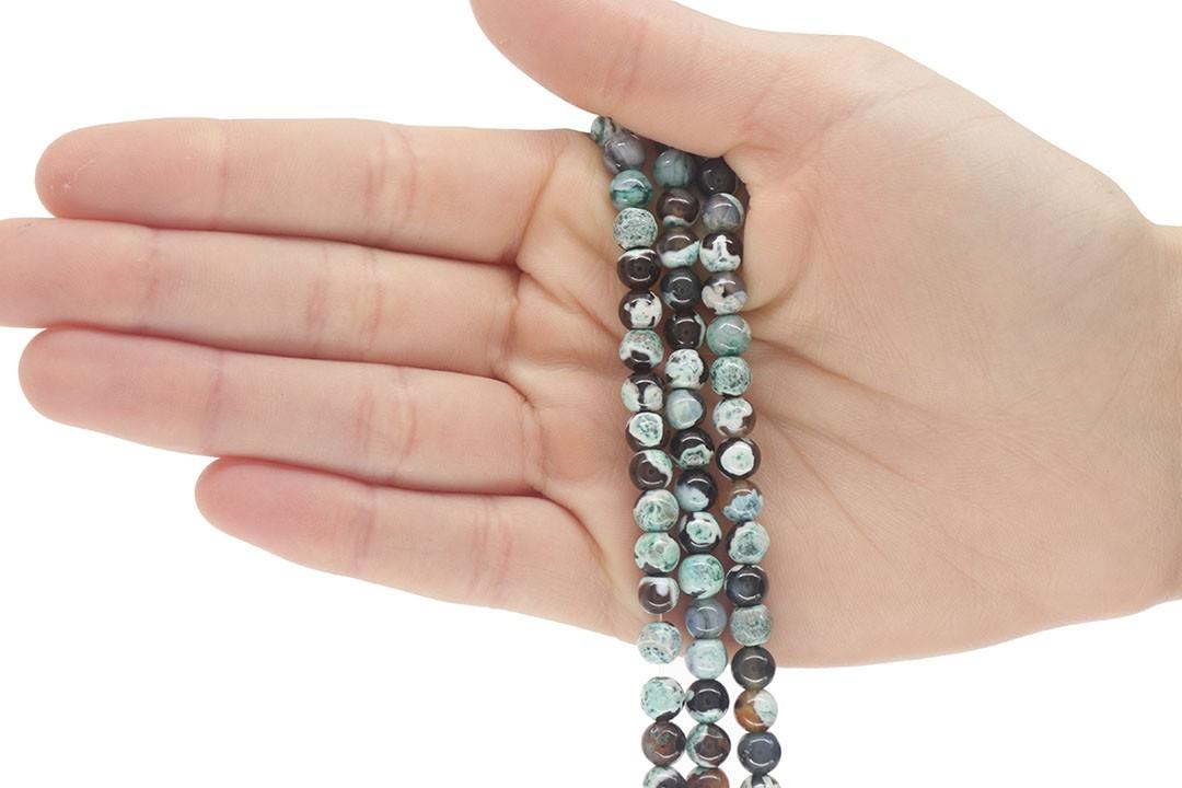 Ágata Collor Mix Verde Fio com Esferas de 6mm - F471  - ArtStones