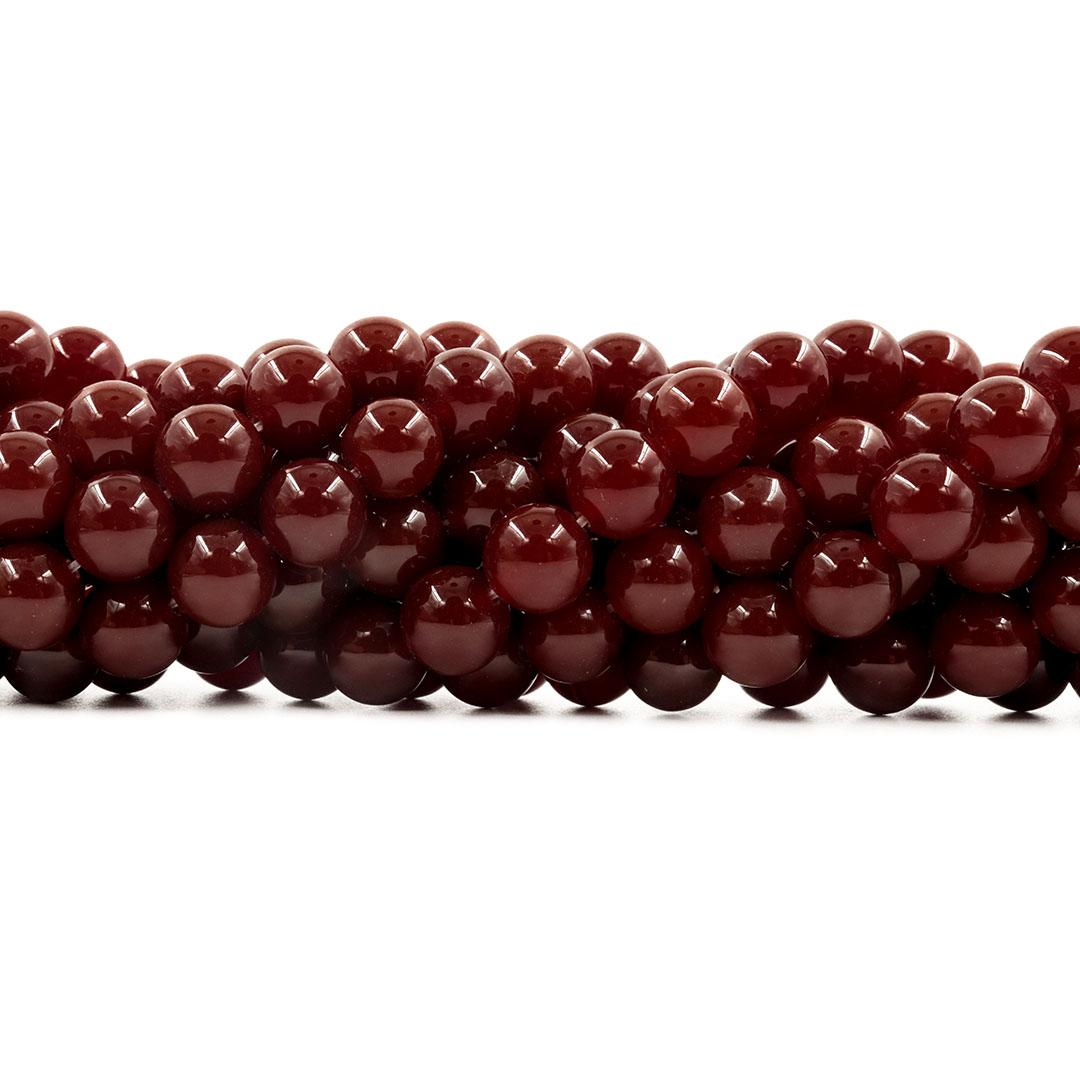 Ágata Cornalina Escura Fio com Esferas 10mm - F172  - ArtStones