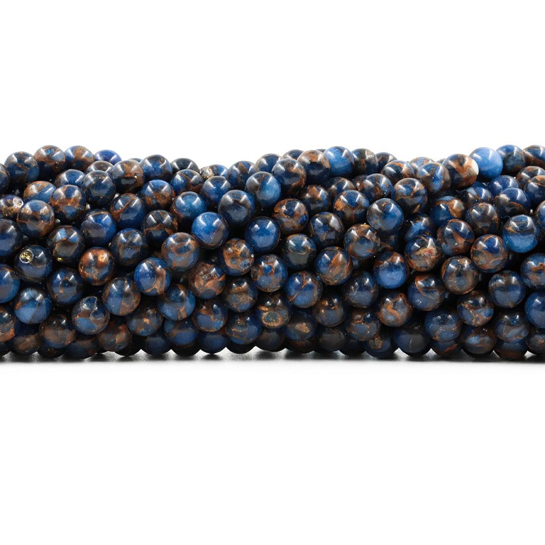 Ágata Blue Lake Dark Fio com Esferas de 6mm - F049  - ArtStones