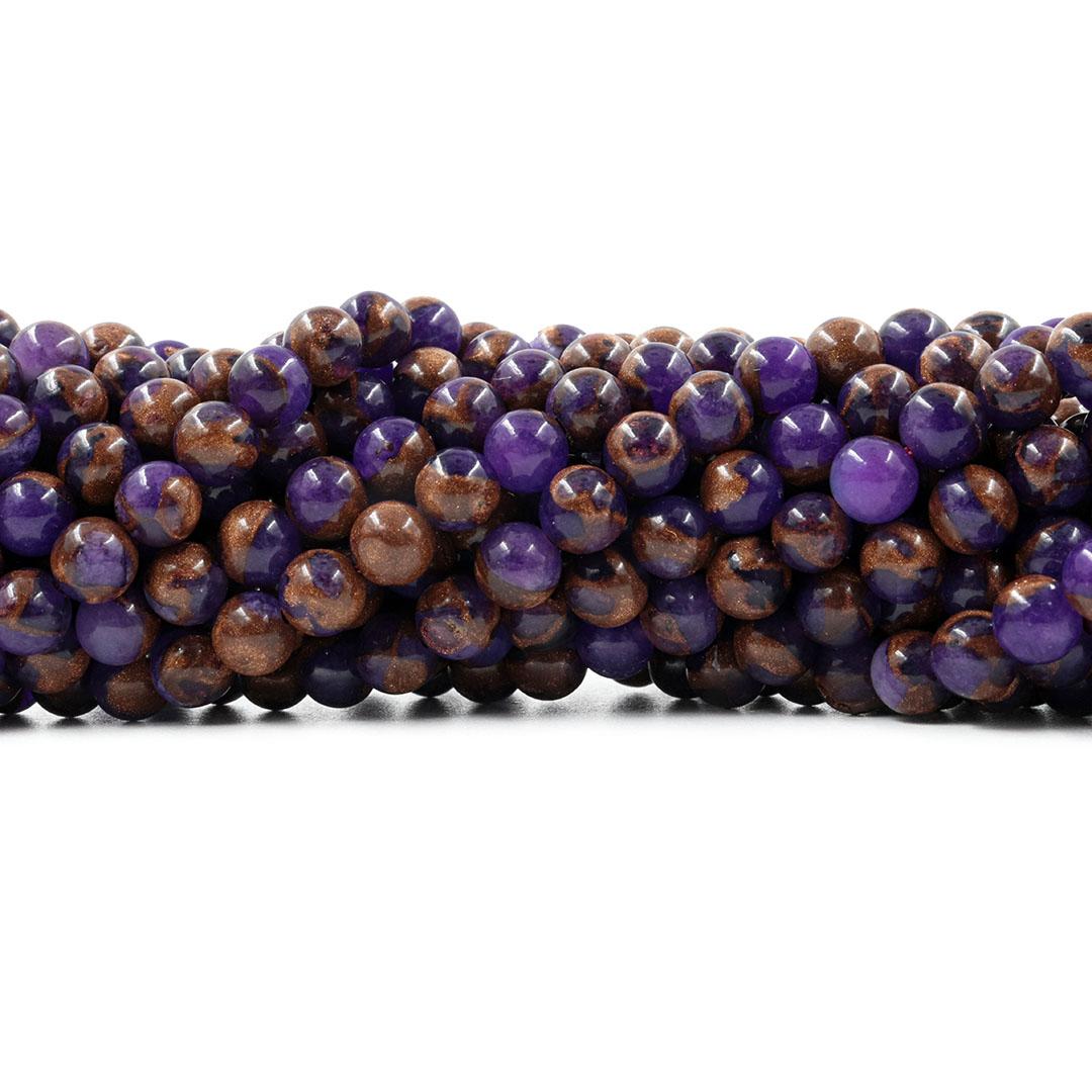 Ágata Blue Lake Purple Fio com Esferas de 6mm - F051  - ArtStones