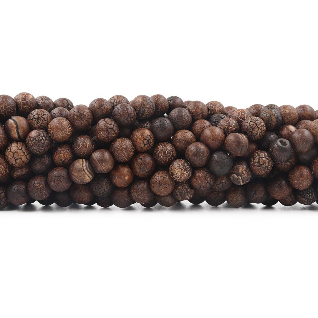 Ágata Madeira Escura Fio com Esferas de 8mm - F000  - ArtStones