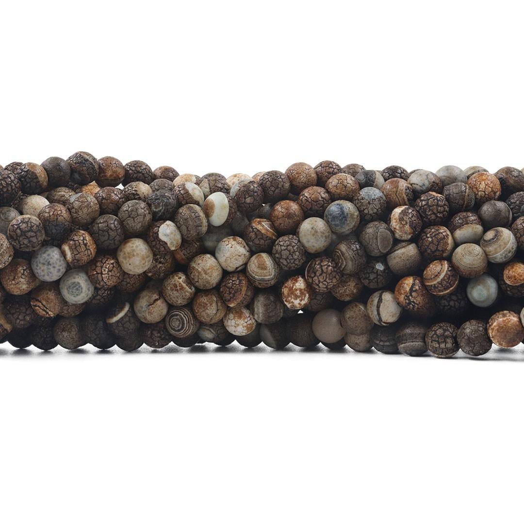 Ágata Madeira Tibetana Fio com Esferas de 6mm - F066  - ArtStones