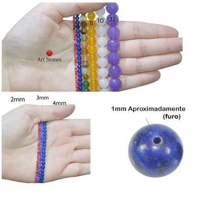 Ágata Marrom Mesclada Fios com Esferas de 6mm - F067  - ArtStones