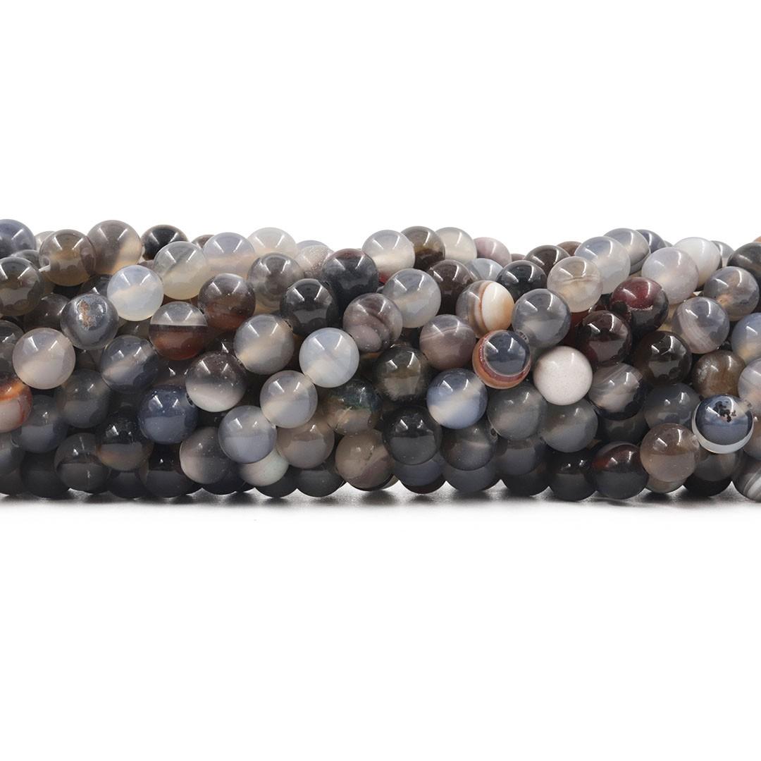 Ágata Mesclada Cinza Fio com Esferas de 8mm - F085  - ArtStones