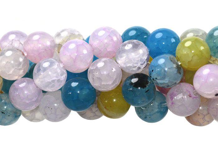 Ágata Collor Mix Azul/Rosa Fio com Esferas de 8mm - F000  - ArtStones