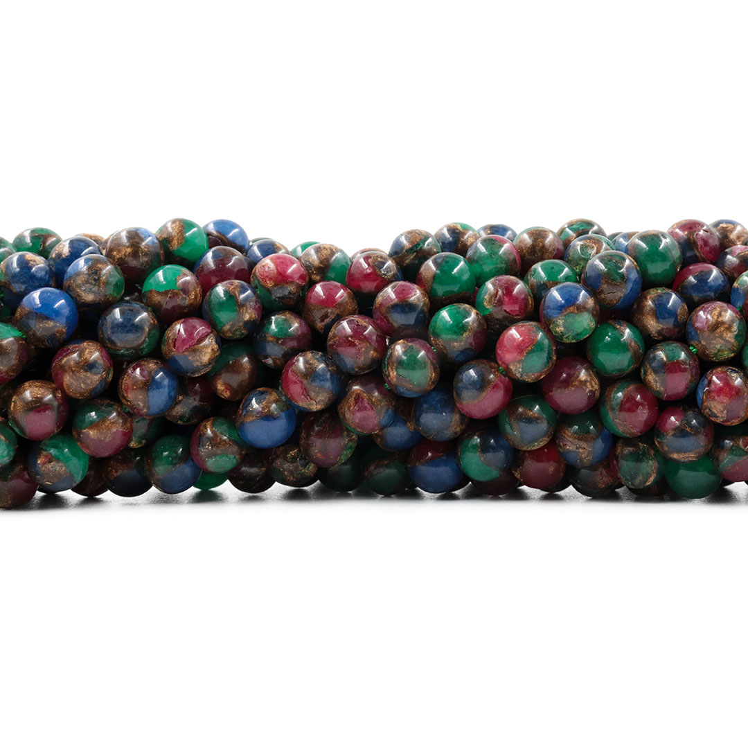 Ágata Blue Lake Mix Azul Fio com Esferas de 6mm - F029  - ArtStones
