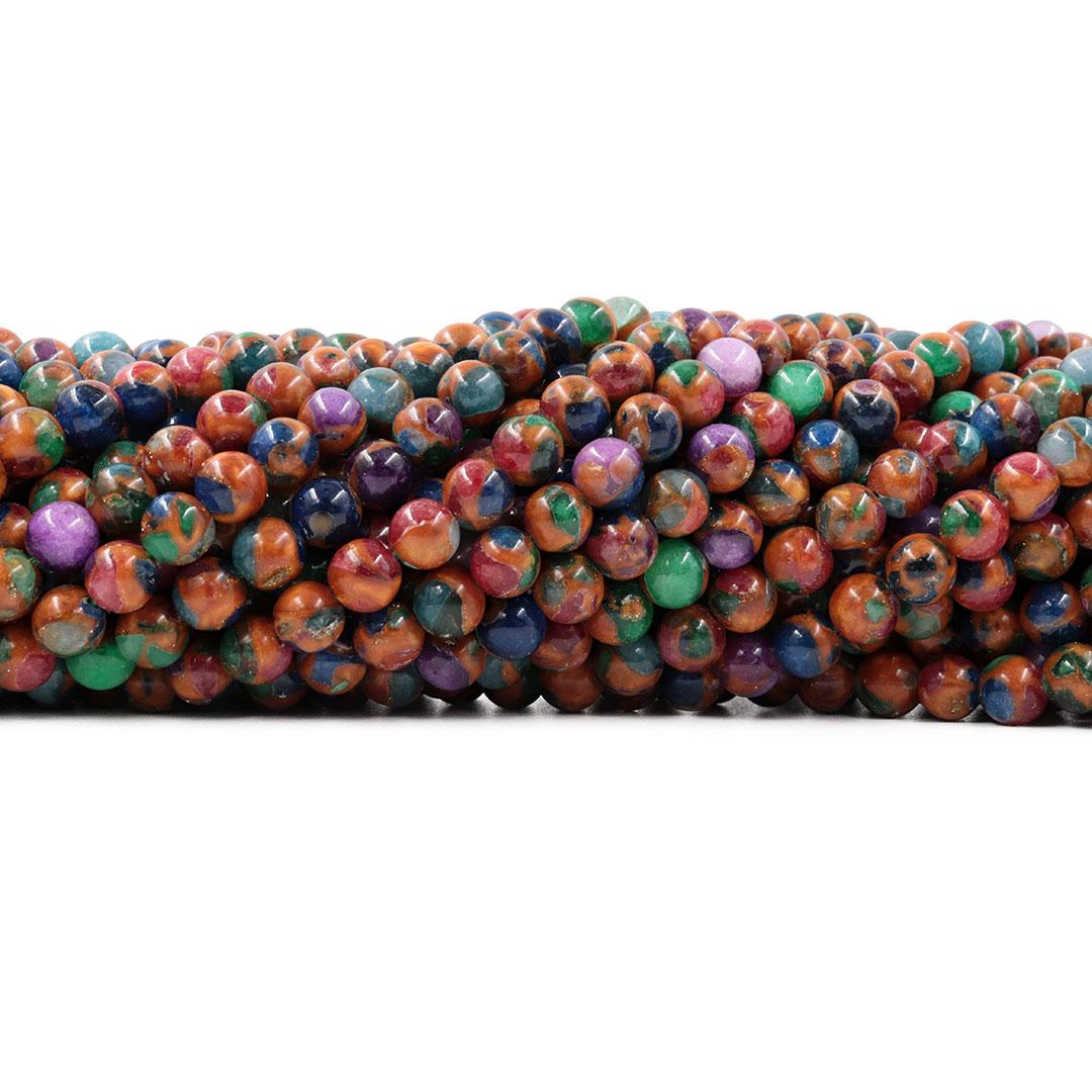 Ágata Blue Lake Mix Orange Fio com Esferas de 6mm - F038  - ArtStones