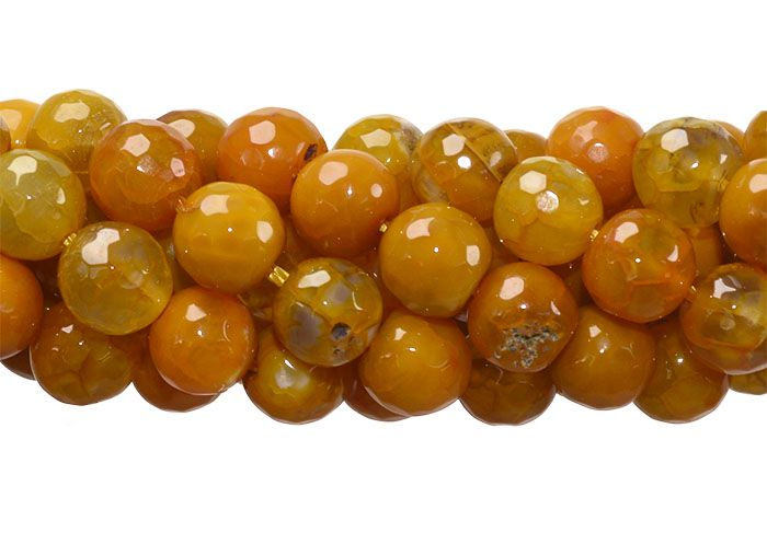 Ágata Collor Mix Mostarda Fio com Esferas Facetadas de 8mm - F097  - ArtStones