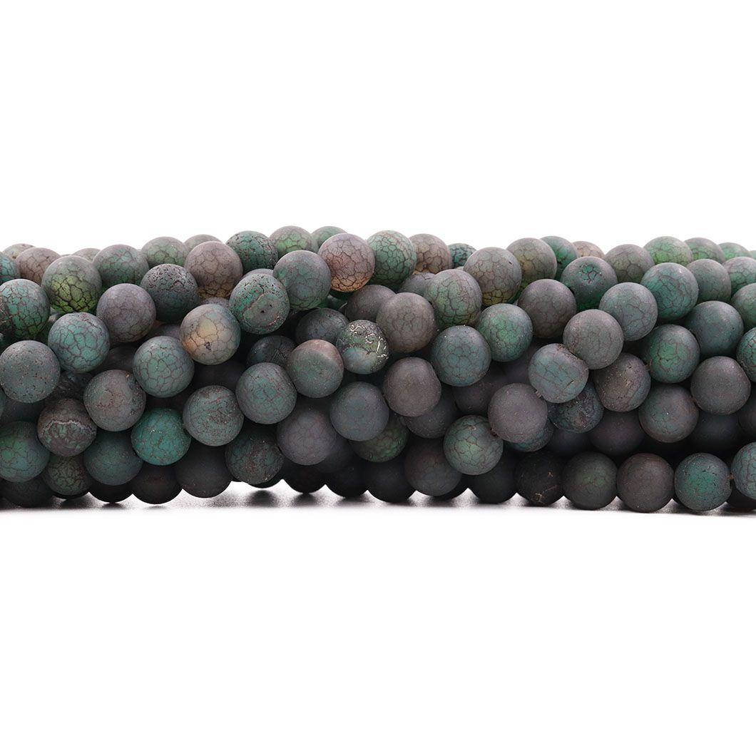 Ágata Musgo Fosca Craquelada Fio com Esferas de 8mm - F331  - ArtStones