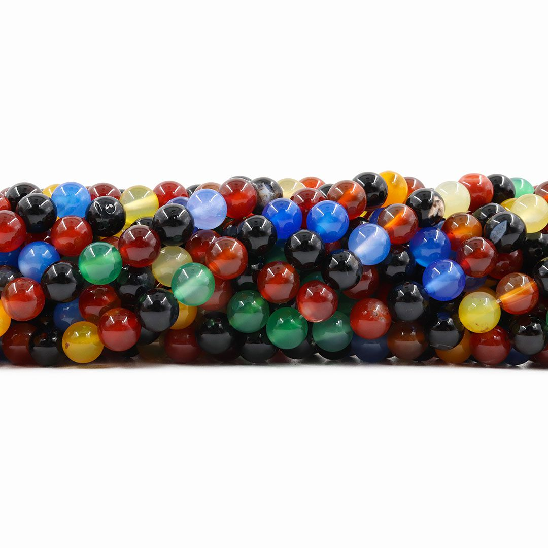 Ágata Natural Colorida Fio com Esferas de 6mm - F647  - ArtStones