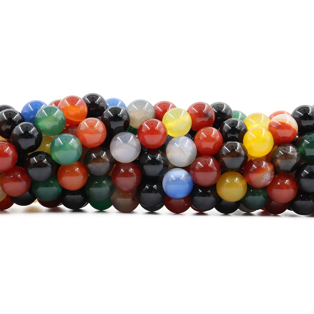Ágata Natural Colorida Fio com Esferas de 8mm - F059  - ArtStones