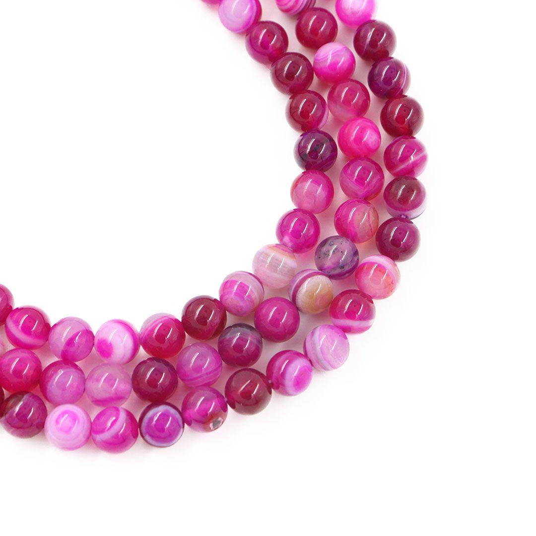 Ágata Pink Mesclada Fio com Esferas de 8mm - F074  - ArtStones