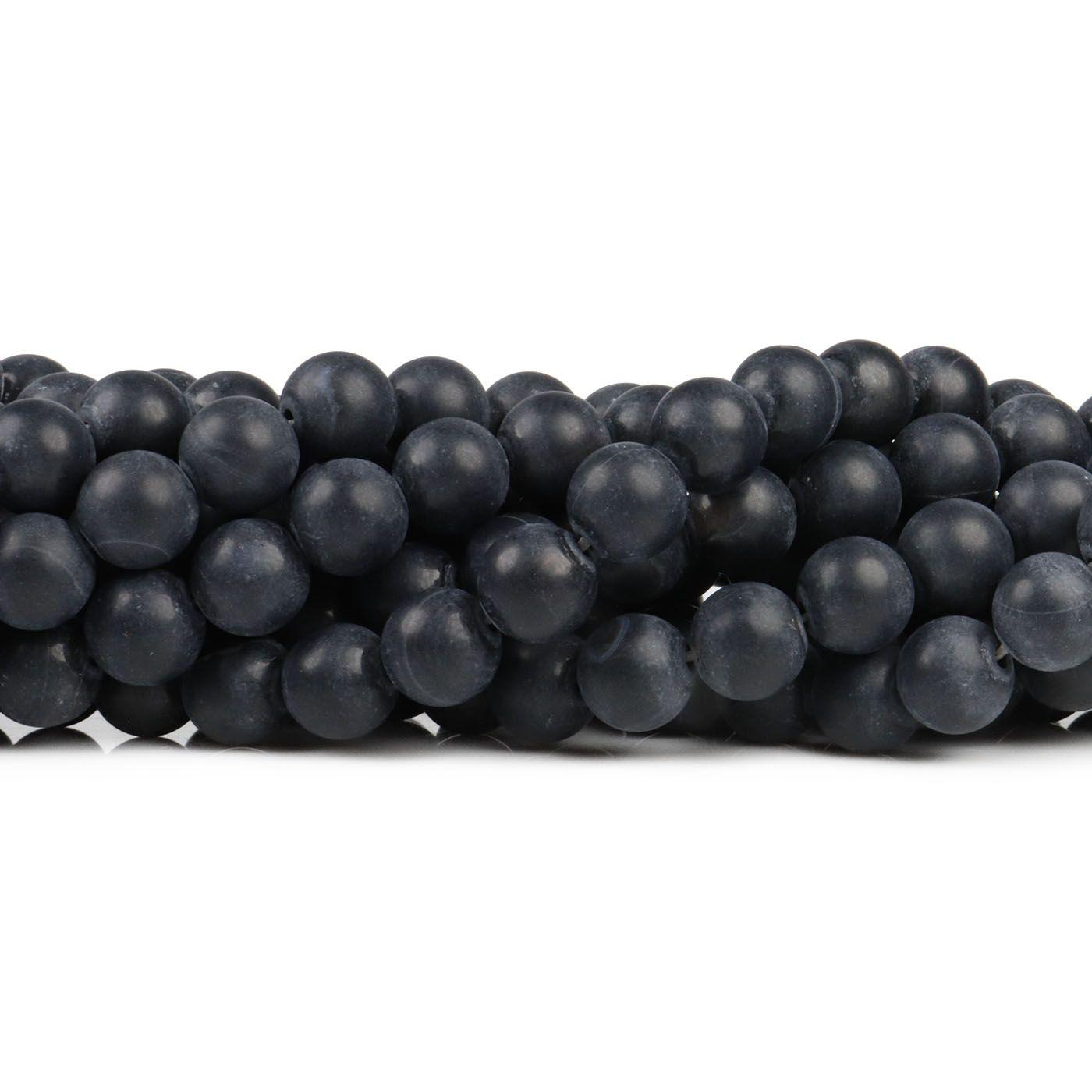 Ágata Preta Fosca Fio com Esferas de 8mm - F010  - ArtStones