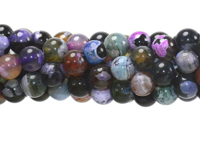Ágata Collor Mix Preta Fio com Esferas de 6mm - F092  - ArtStones
