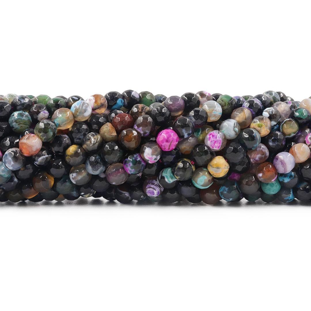 Ágata Preta Mix Fio com Esferas Facetadas de 6mm - F104  - ArtStones