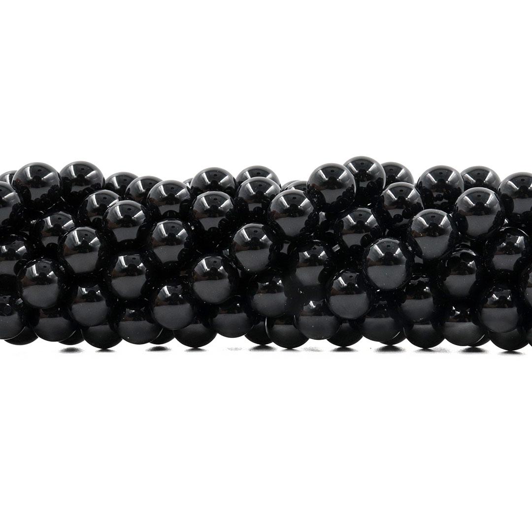 Ágata Preta Natural Fio com Esferas de 10mm - F009  - ArtStones