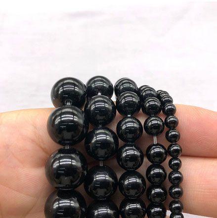Ágata Preta Natural Fio com Esferas de 4mm - F707  - ArtStones