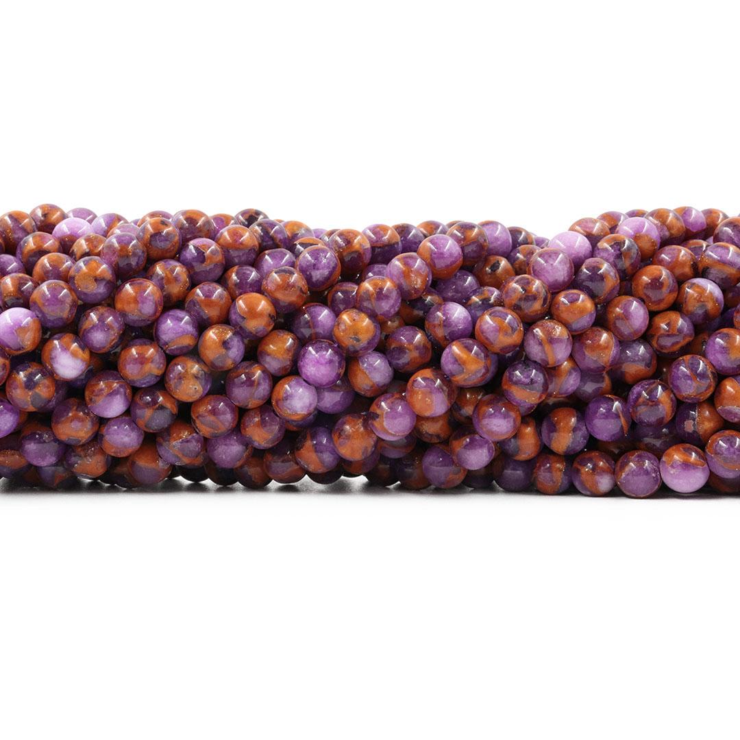 Ágata Blue Lake Lilás Fio com Esferas de 6mm - F052  - ArtStones