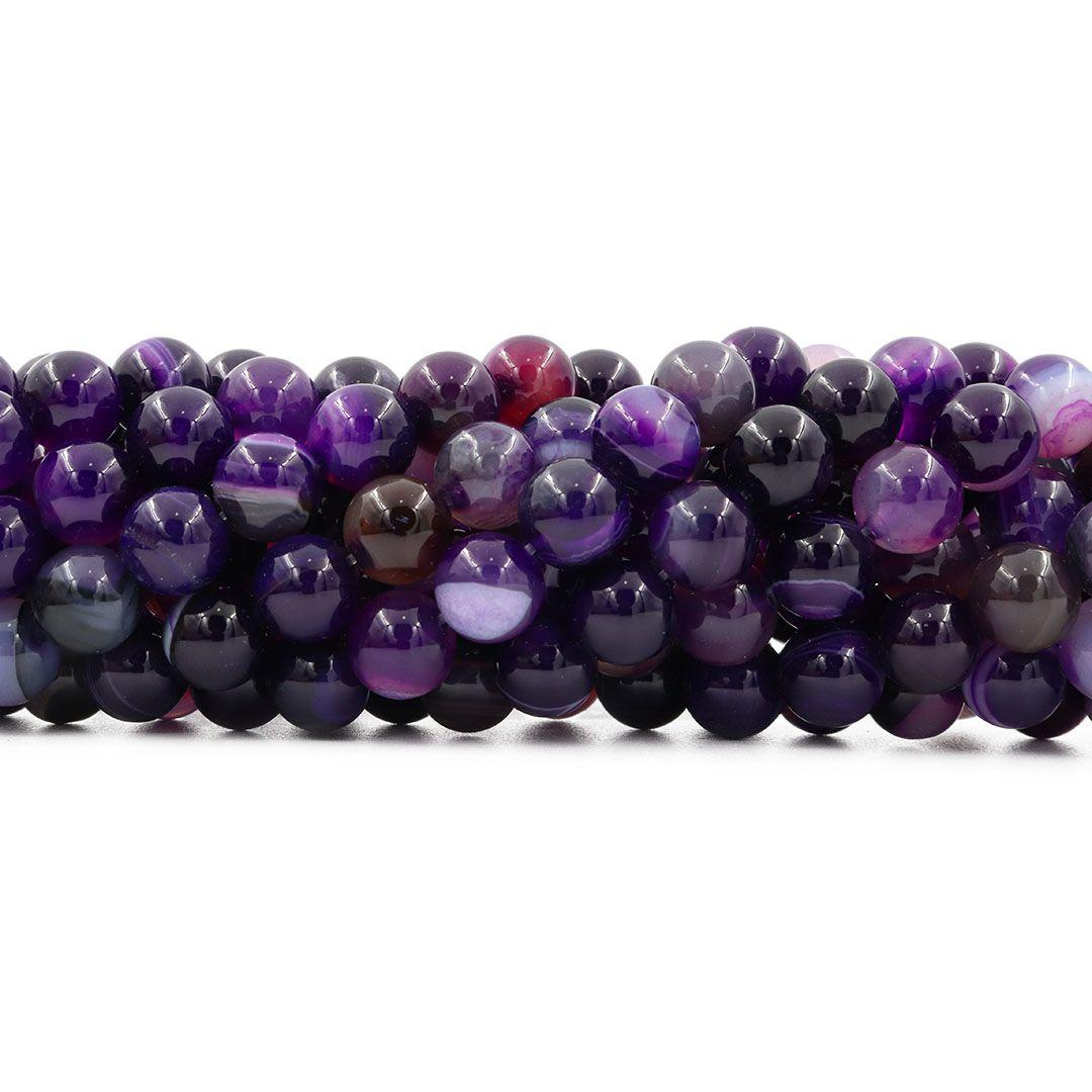 Ágata Purple Mesclada Fio com Esferas de 10mm - F071  - ArtStones