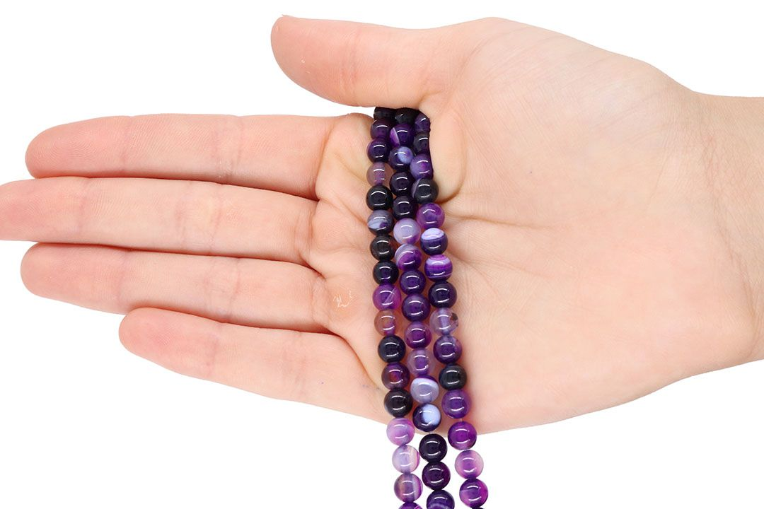Ágata Purple Mesclada Fio com Esferas de 6mm - F069  - ArtStones
