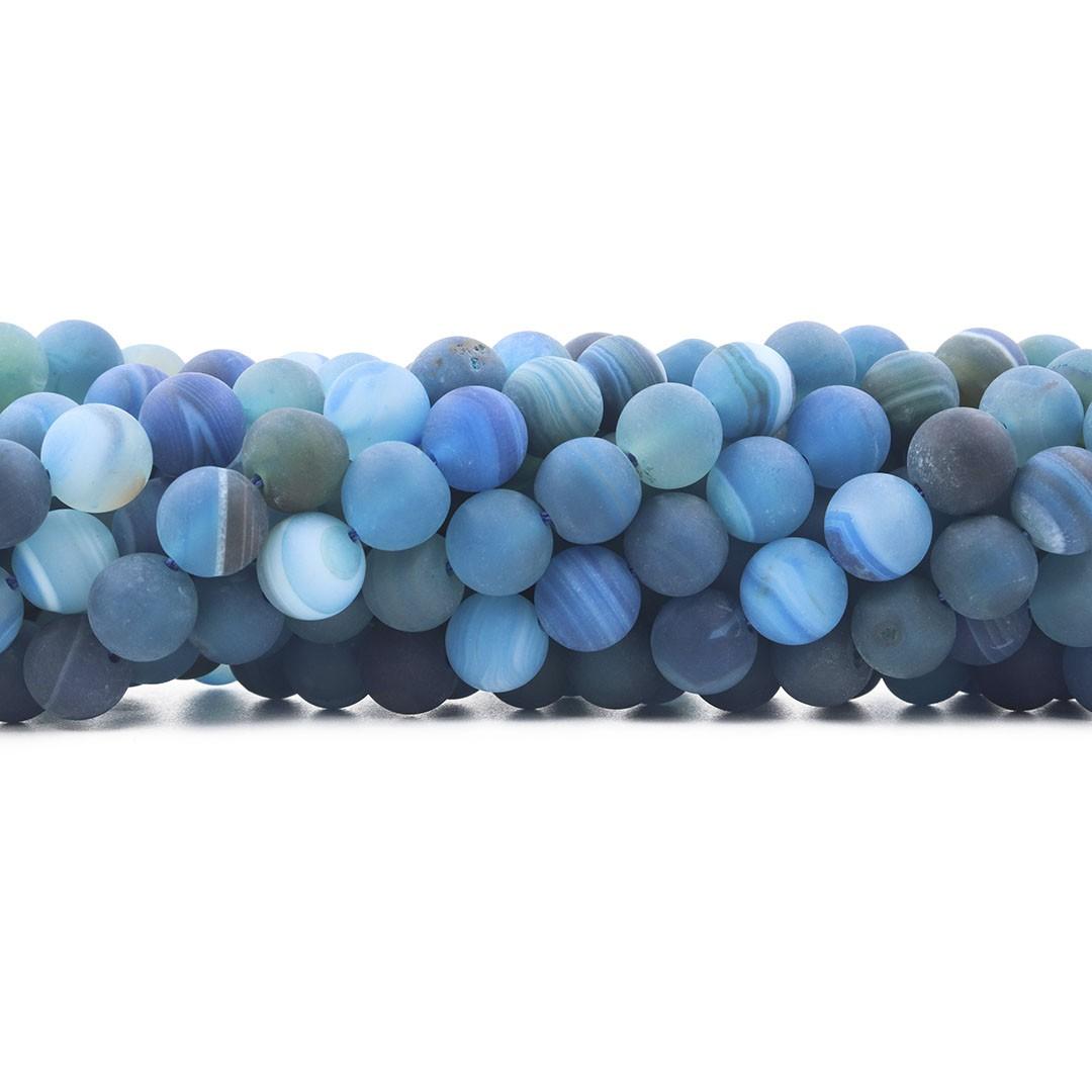Ágata Smooth Azul Fosco Fio com Esferas de 10mm - F668  - ArtStones