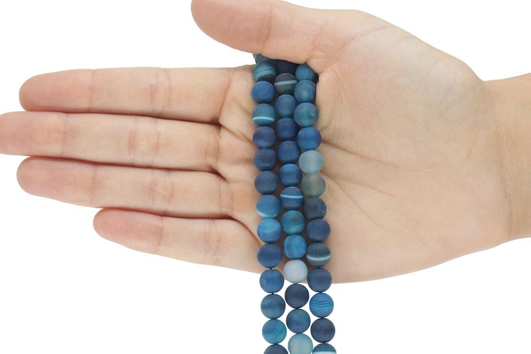 Ágata Smooth Azul Fosco Fio com Esferas de 8mm - F669  - ArtStones