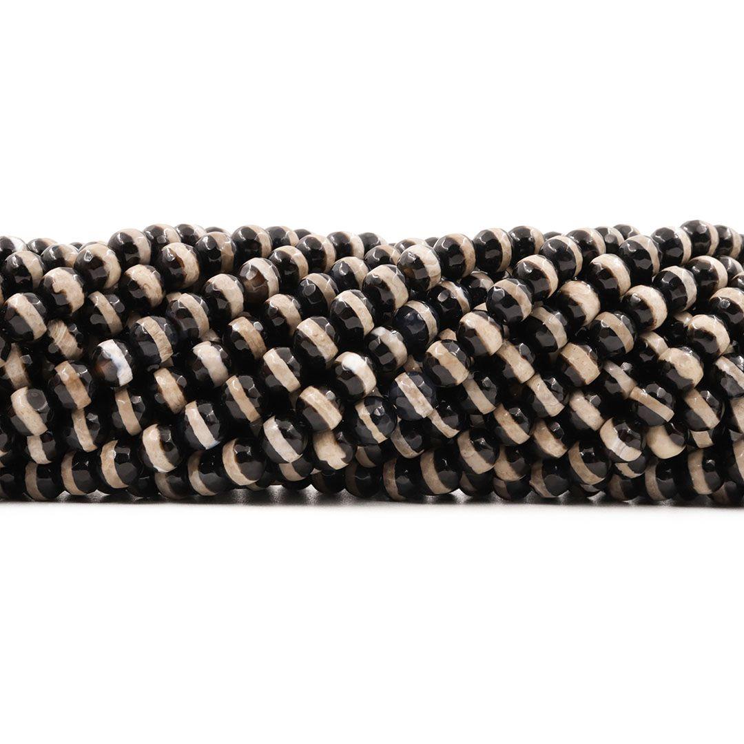 Ágata Africana Black & White Fio com Esferas Facetadas de 6mm - F126  - ArtStones