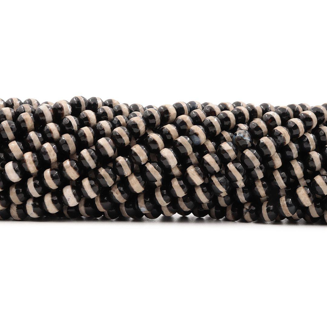 Ágata Africana Black & White Fio com Esferas Facetadas de 8mm - F127  - ArtStones