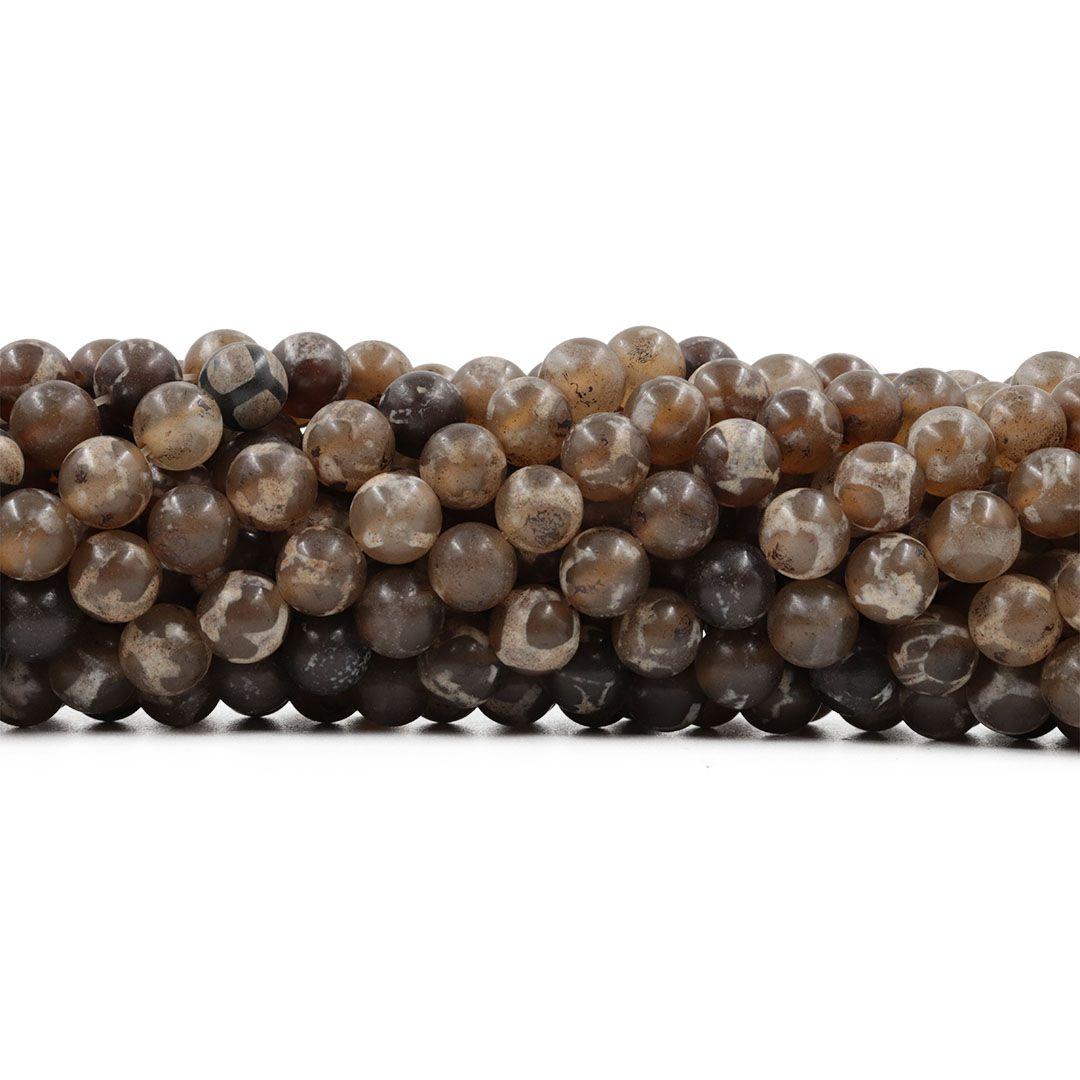 Ágata Tibetana Ocre Mesclada Fio com Esferas de 8mm - F543  - ArtStones