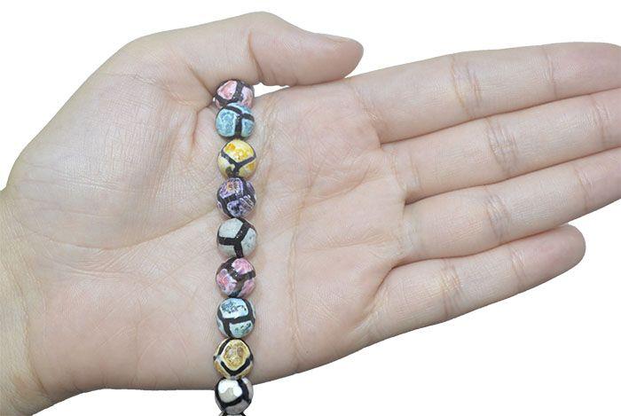 Ágata Tibetana Mix Fio com Esferas Facetadas de 10mm - F131  - ArtStones