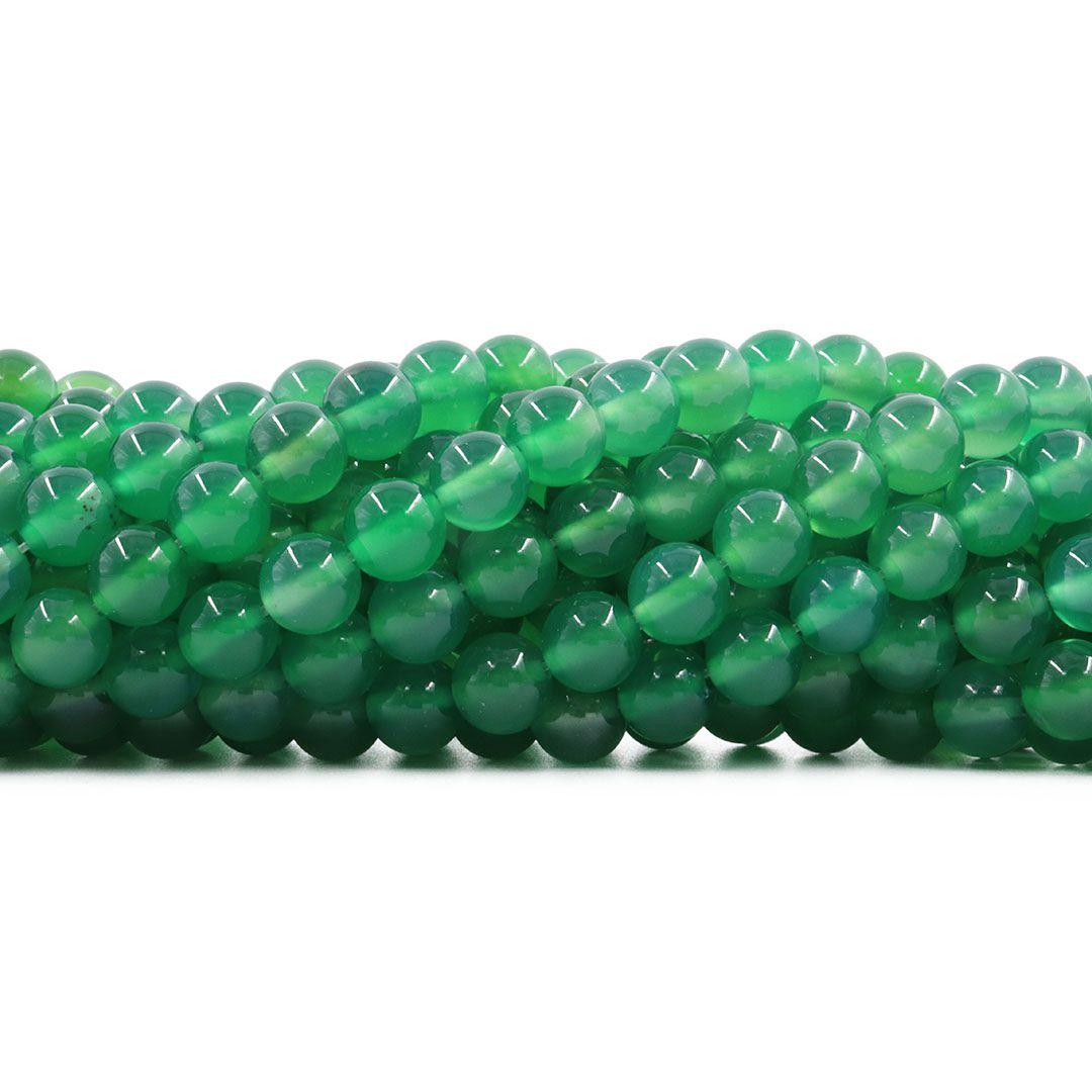 Ágata Verde Extra Fio com Esferas de 8mm - F081