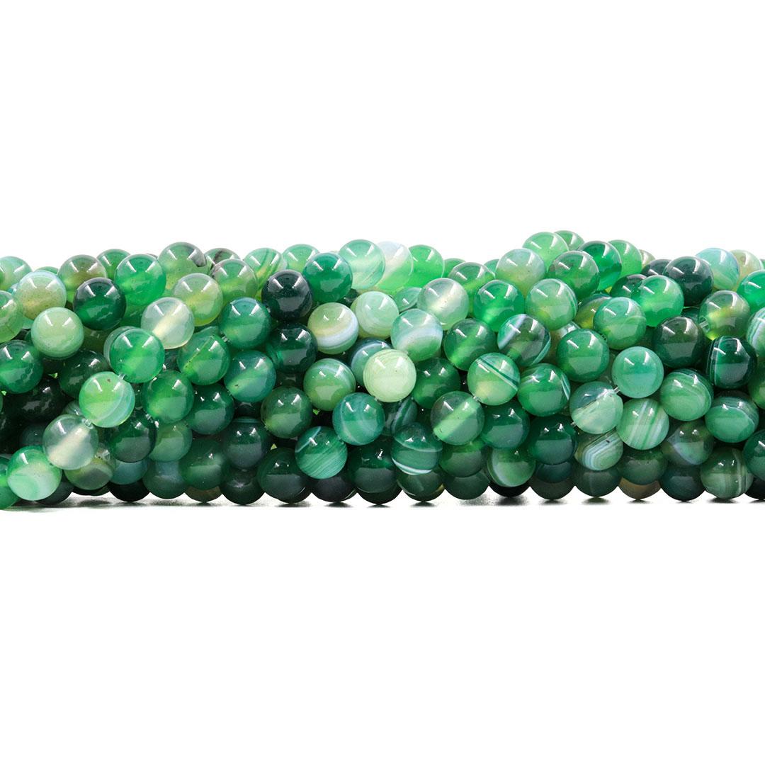 Ágata Verde Mesclada Fio com Esferas de 8mm - F078  - ArtStones