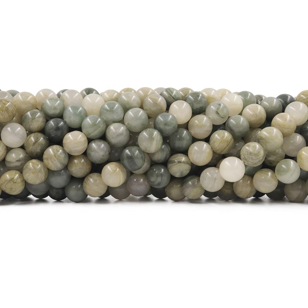 Ágata Verde Musgo Mesclada Fio com Esferas de 8mm - F082  - ArtStones