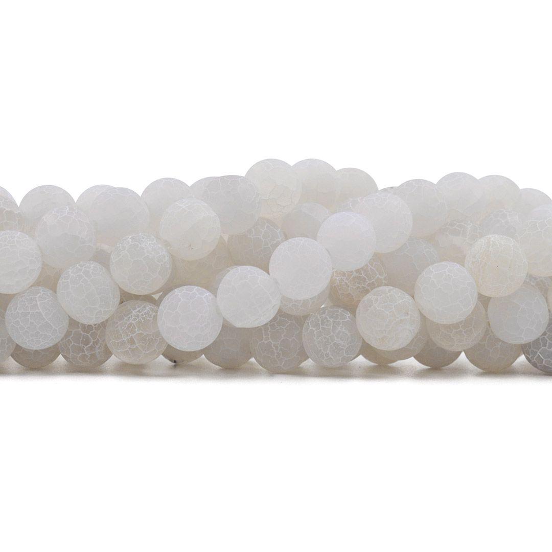 Ágata Craquelada Branca Fosca Fio com Esferas de 12mm - F000  - ArtStones