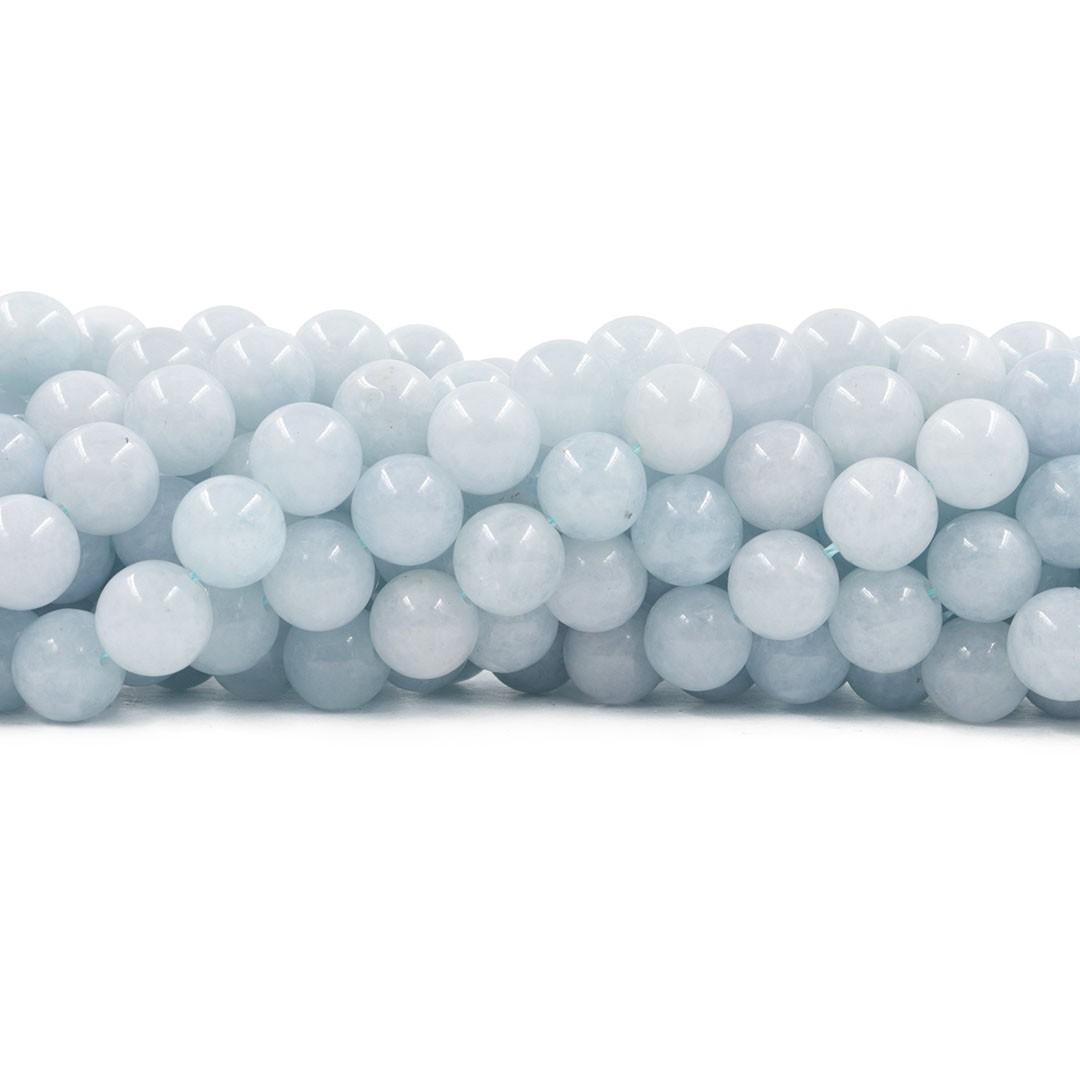 Água Marinha Natural Leitosa Fio com esferas de 10mm - F377  - ArtStones