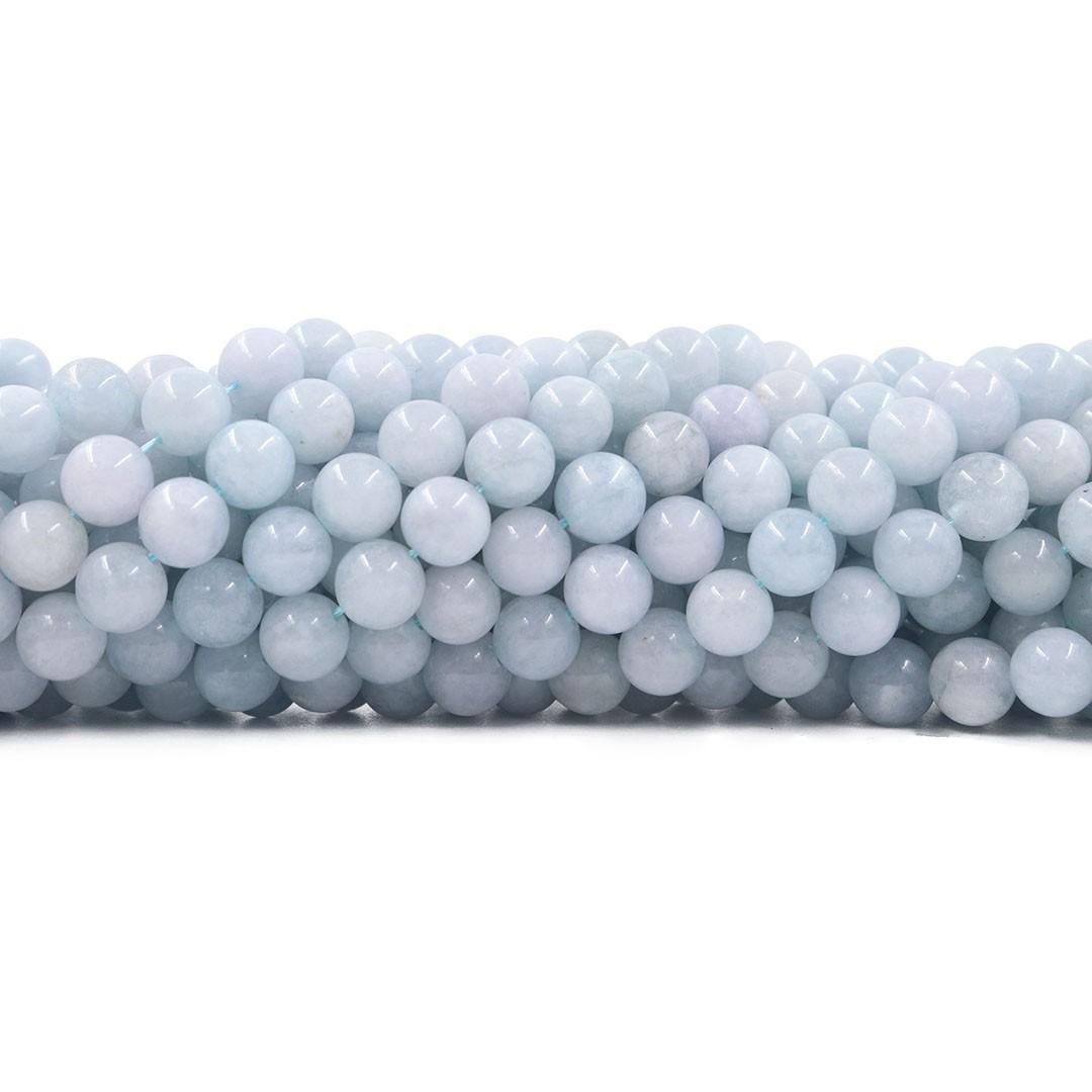 Água Marinha Natural Leitosa Fio com esferas de 8mm - F546  - ArtStones
