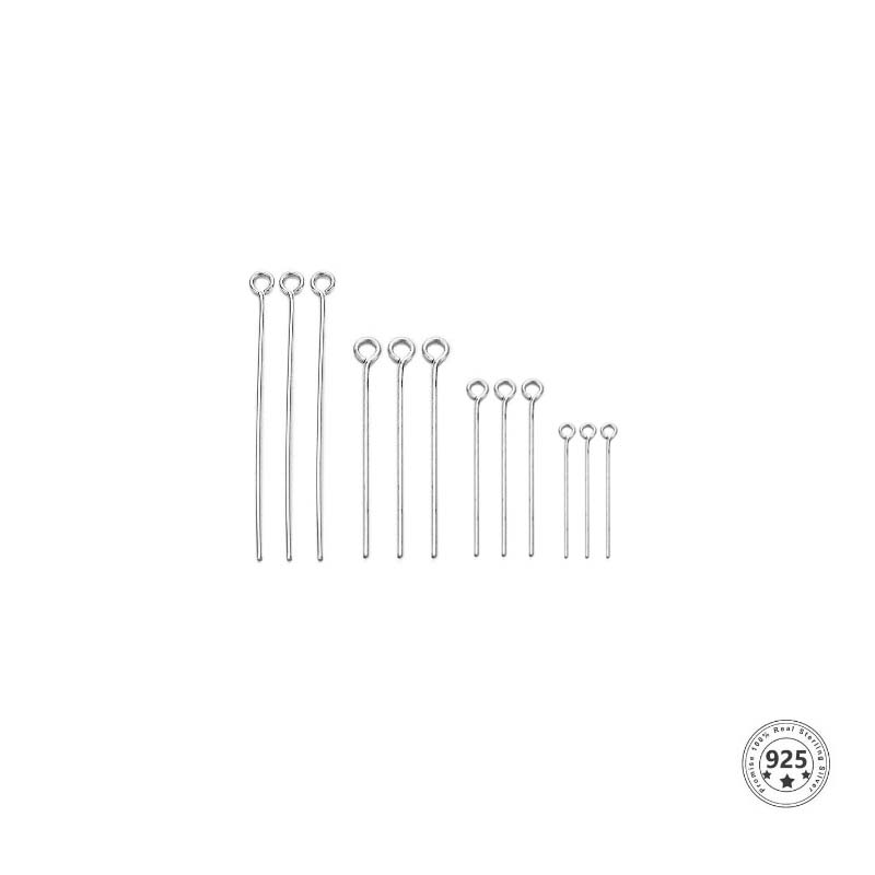 Alfinete Cabeça Argola Prata 925 de 1.5x0.50 - 06 Peças - PR114  - ArtStones