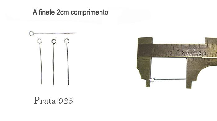 Alfinete Cabeça Argola Prata 925 de 2x0.50 - 06 peças - PR011  - ArtStones