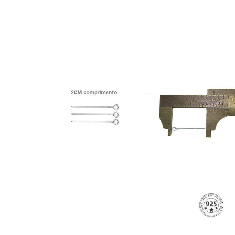 Alfinete Cabeça Argola Prata 950 de 2x0.60 - 06 peças - PR018  - ArtStones