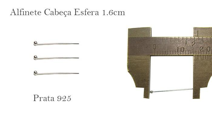 Alfinete em Prata 925 Cabeça Esfera de 1.5x0.50 - 6 pcs- PR008  - ArtStones
