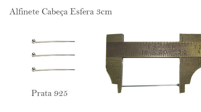 Alfinete em Prata 925 Cabeça Esfera de 3x0.60 - 6 pcs -  PR015  - ArtStones
