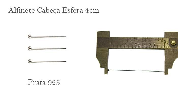 Alfinete Prata 925 Cabeça Esfera 4x0.50 - 6 pcs - PR010  - ArtStones