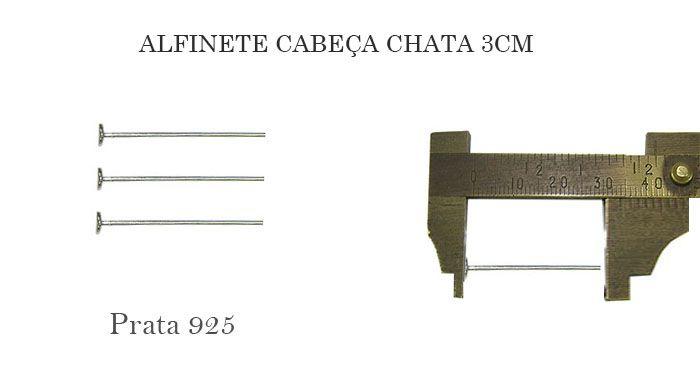 Alfinete Prata 925 Cabeça Chata 3x0.60 - 04 PEÇAS - ALF_22  - ArtStones