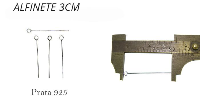 Alfinete Cabeça Argola Prata 925 de 3x0.50 - 06 peças - PR012  - ArtStones