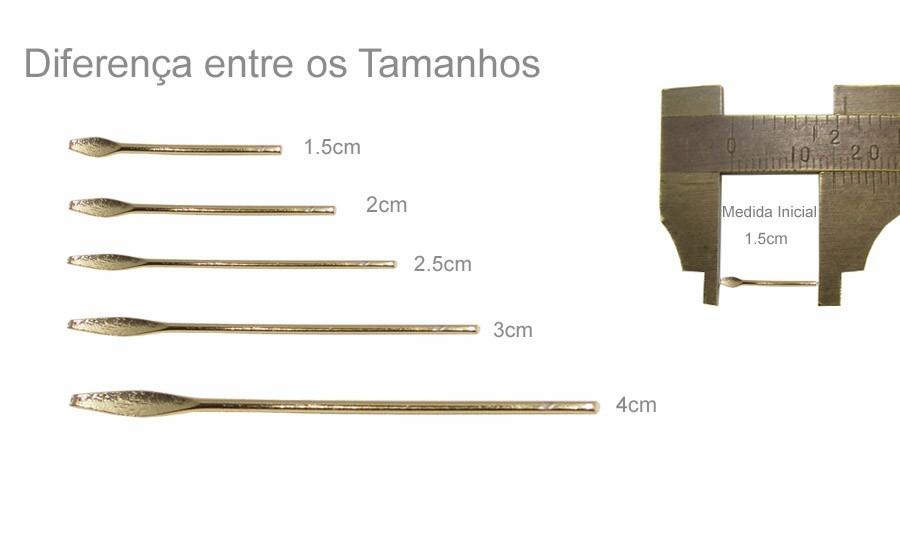 Alfinete Lança 4x0.70 Folheado com 10 peças - FO000  - ArtStones
