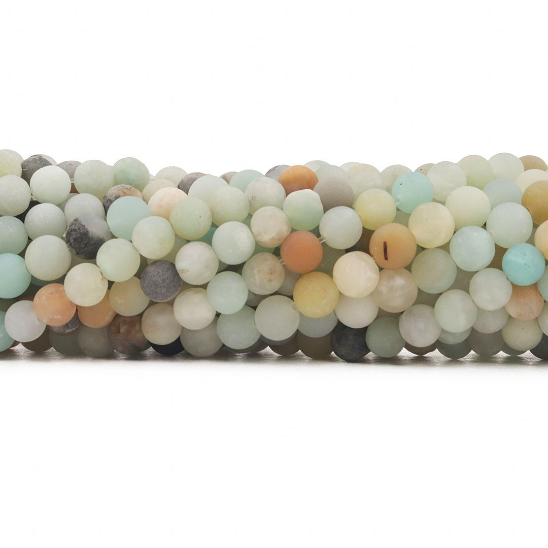 Amazonita Mesclada Fosca Fio com Esferas de 6mm - F344  - ArtStones