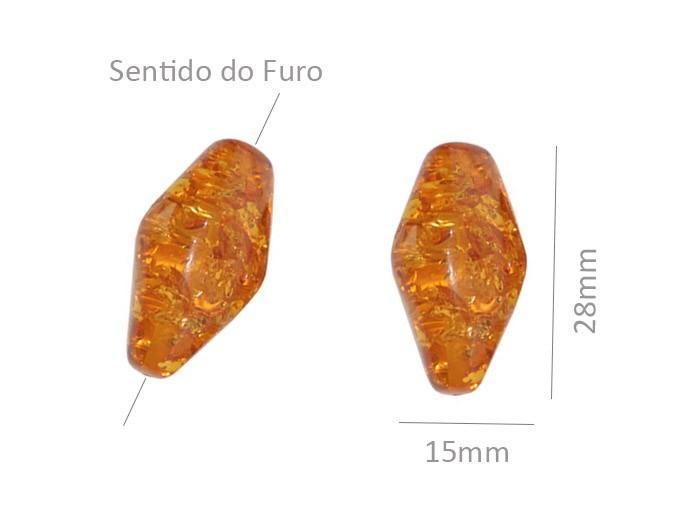 Resina Âmbar Formato Balão de 28x15mm - 2 Peças - OM069  - ArtStones