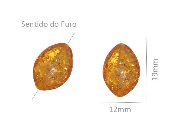 Resina Âmbar Formato Navete 19x12mm - 02 Peças - OM079  - ArtStones